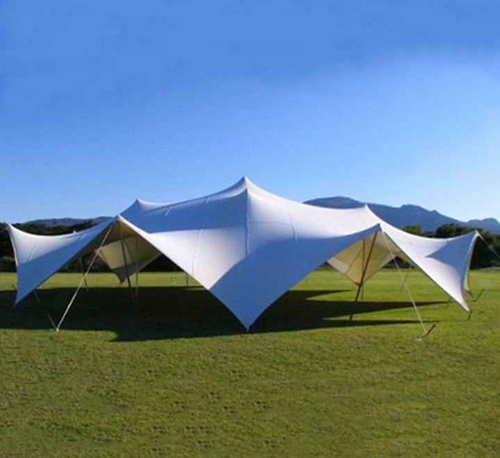 stretch tents on a campsite
